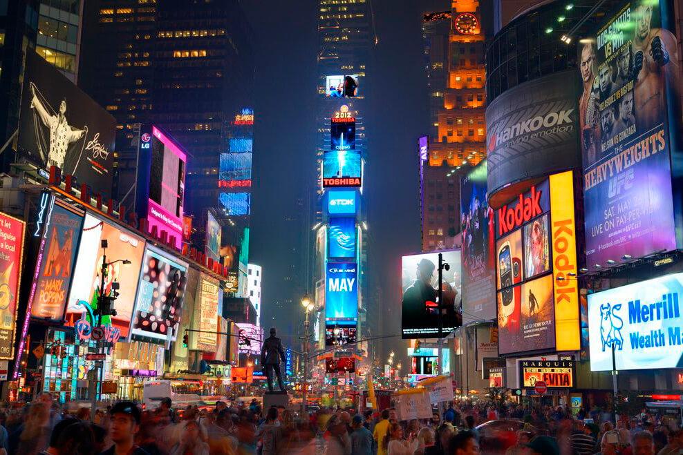 Rótulos de neón Quinta Avenida Nueva York